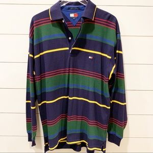 TOMMY HILFIGER Long Sleeve Stripe Polo NWOT Size M